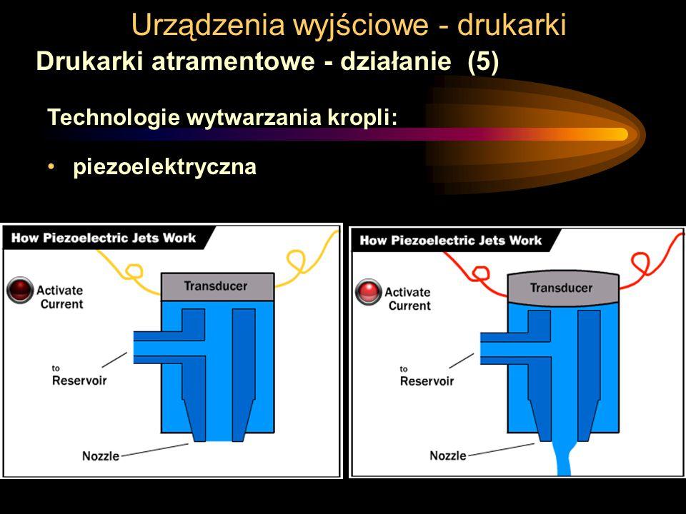 Urządzenia wyjściowe - drukarki Drukarki atramentowe - działanie (5) Technologie wytwarzania kropli: piezoelektryczna