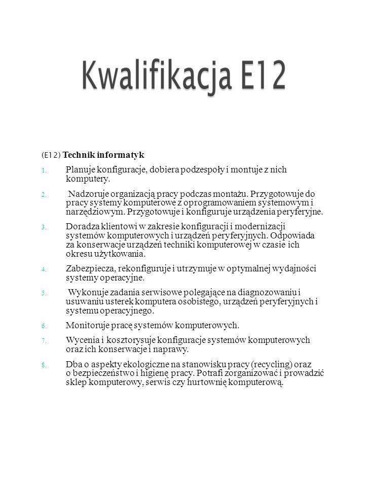 (E12) Technik informatyk 1.Planuje konfiguracje, dobiera podzespoły i montuje z nich komputery.