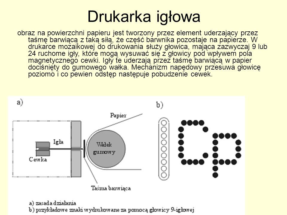 Drukarka igłowa Przy jednokrotnym pobudzeniu drukowane są punkciki umieszczone jeden nad drugim, odpowiadające poszczególnym igłom (wszystkie, niektóre lub żaden).