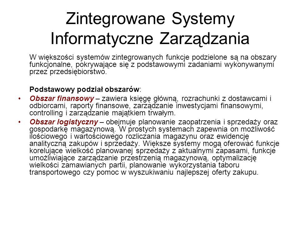 Zintegrowane Systemy Informatyczne Zarządzania W większości systemów zintegrowanych funkcje podzielone są na obszary funkcjonalne, pokrywające się z p
