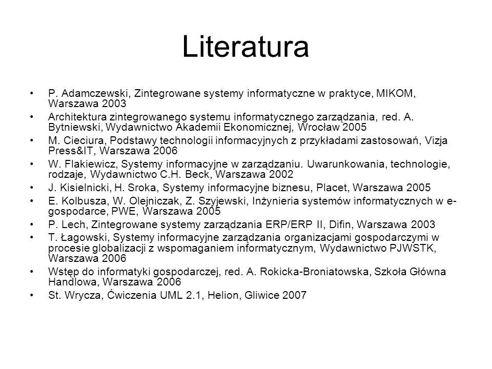 Literatura P. Adamczewski, Zintegrowane systemy informatyczne w praktyce, MIKOM, Warszawa 2003 Architektura zintegrowanego systemu informatycznego zar