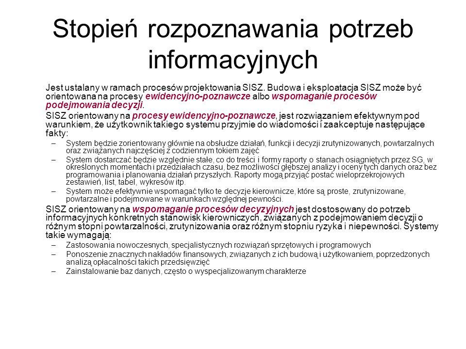 Stopień rozpoznawania potrzeb informacyjnych Jest ustalany w ramach procesów projektowania SISZ. Budowa i eksploatacja SISZ może być orientowana na pr