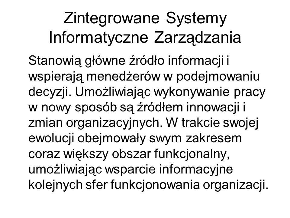 Zintegrowane Systemy Informatyczne Zarządzania Stanowią główne źródło informacji i wspierają menedżerów w podejmowaniu decyzji. Umożliwiając wykonywan