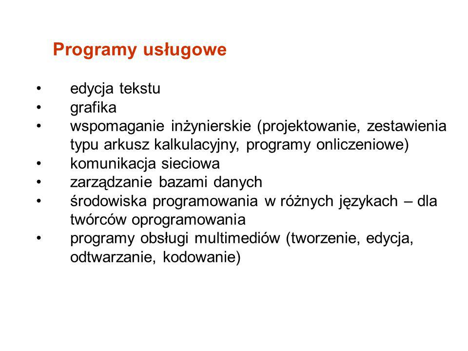 Programy usługowe edycja tekstu grafika wspomaganie inżynierskie (projektowanie, zestawienia typu arkusz kalkulacyjny, programy onliczeniowe) komunika