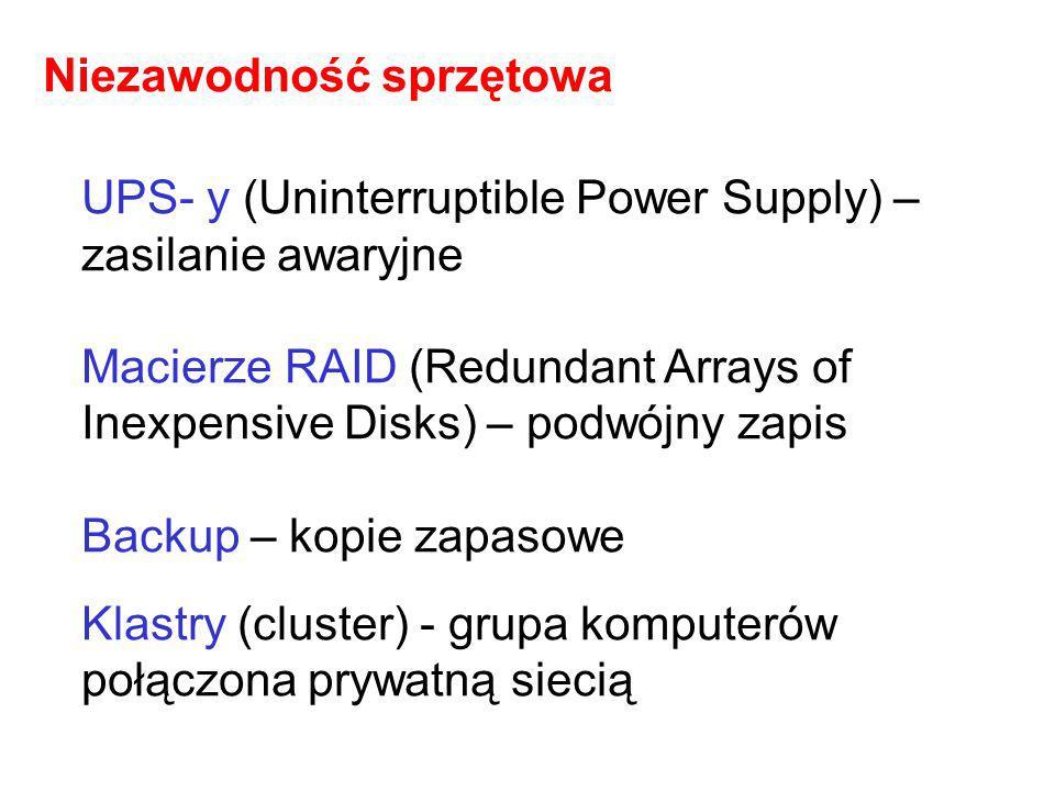 UPS- y (Uninterruptible Power Supply) – zasilanie awaryjne Macierze RAID (Redundant Arrays of Inexpensive Disks) – podwójny zapis Backup – kopie zapas