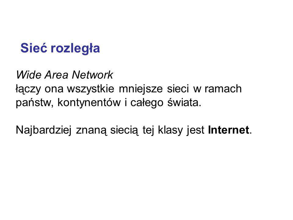 Wide Area Network łączy ona wszystkie mniejsze sieci w ramach państw, kontynentów i całego świata. Najbardziej znaną siecią tej klasy jest Internet. S