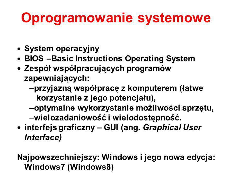  System operacyjny  BIOS –Basic Instructions Operating System  Zespół współpracujących programów zapewniających: –przyjazną współpracę z komputerem