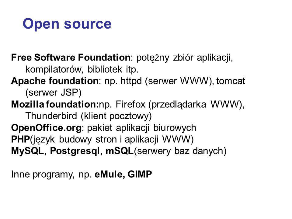 Free Software Foundation: potężny zbiór aplikacji, kompilatorów, bibliotek itp. Apache foundation: np. httpd (serwer WWW), tomcat (serwer JSP) Mozilla