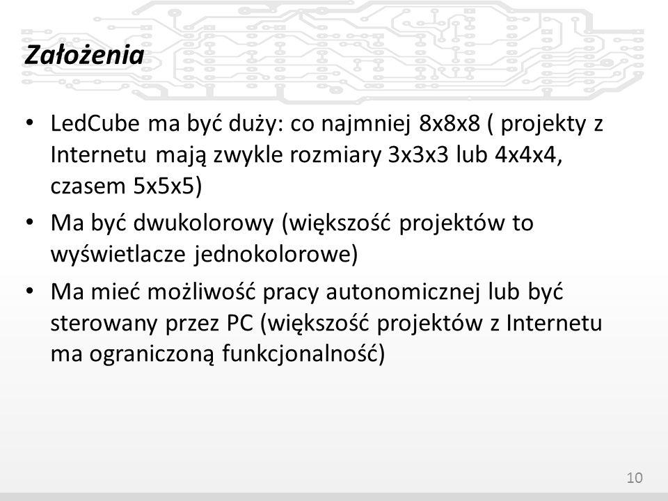 Założenia LedCube ma być duży: co najmniej 8x8x8 ( projekty z Internetu mają zwykle rozmiary 3x3x3 lub 4x4x4, czasem 5x5x5) Ma być dwukolorowy (większ