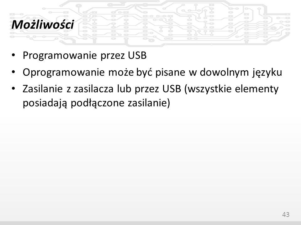 Możliwości Programowanie przez USB Oprogramowanie może być pisane w dowolnym języku Zasilanie z zasilacza lub przez USB (wszystkie elementy posiadają