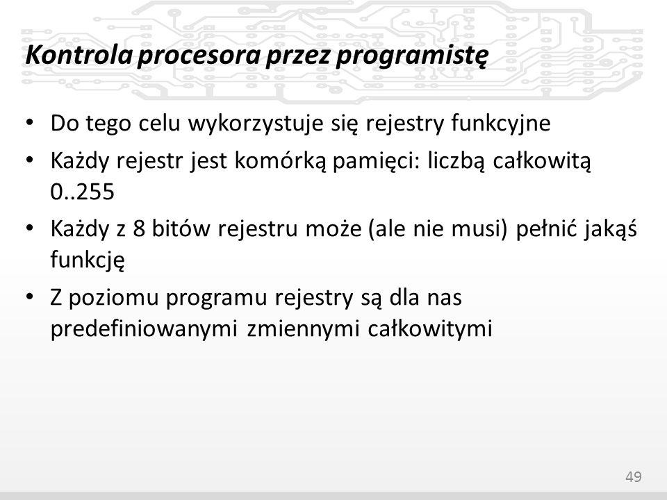 Kontrola procesora przez programistę Do tego celu wykorzystuje się rejestry funkcyjne Każdy rejestr jest komórką pamięci: liczbą całkowitą 0..255 Każd