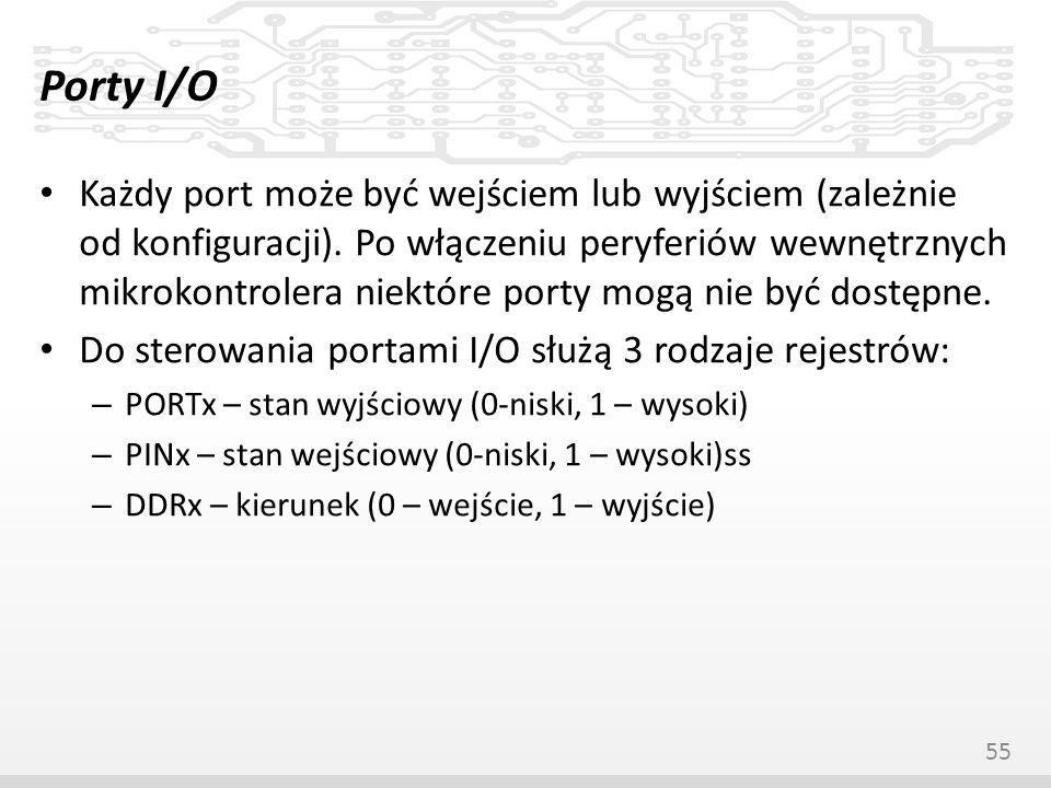 Porty I/O Każdy port może być wejściem lub wyjściem (zależnie od konfiguracji). Po włączeniu peryferiów wewnętrznych mikrokontrolera niektóre porty mo