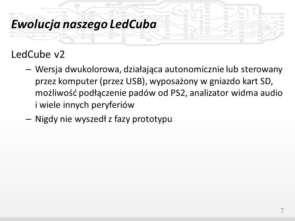 Ewolucja naszego LedCuba LedCube v2.5 – Uproszczona wersja v2 – Dwukolorowy, działający autonomicznie lub sterowany przez USB, wyposażony w analizator widma audio i zegar czasu rzeczywistego – Powstał w kilku egzemplarzach, eliminujących wcześniej wykryte błędy i dodających usprawnienia – Tej wersji będzie poświęcona dalsza część prezentacji 8