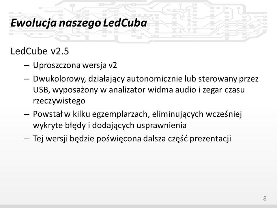 Ewolucja naszego LedCuba LedCube v2.5 – Uproszczona wersja v2 – Dwukolorowy, działający autonomicznie lub sterowany przez USB, wyposażony w analizator