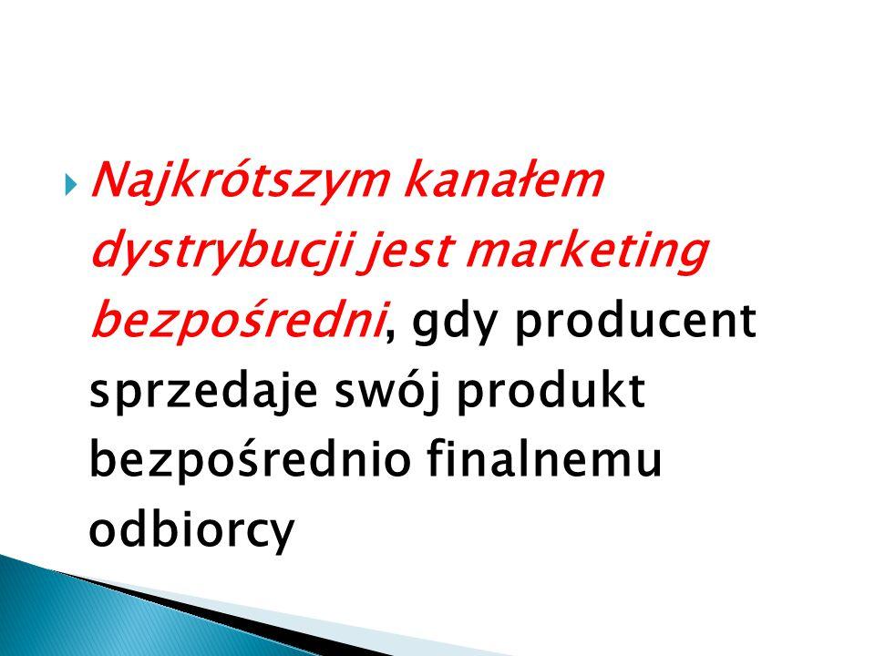  Najkrótszym kanałem dystrybucji jest marketing bezpośredni, gdy producent sprzedaje swój produkt bezpośrednio finalnemu odbiorcy