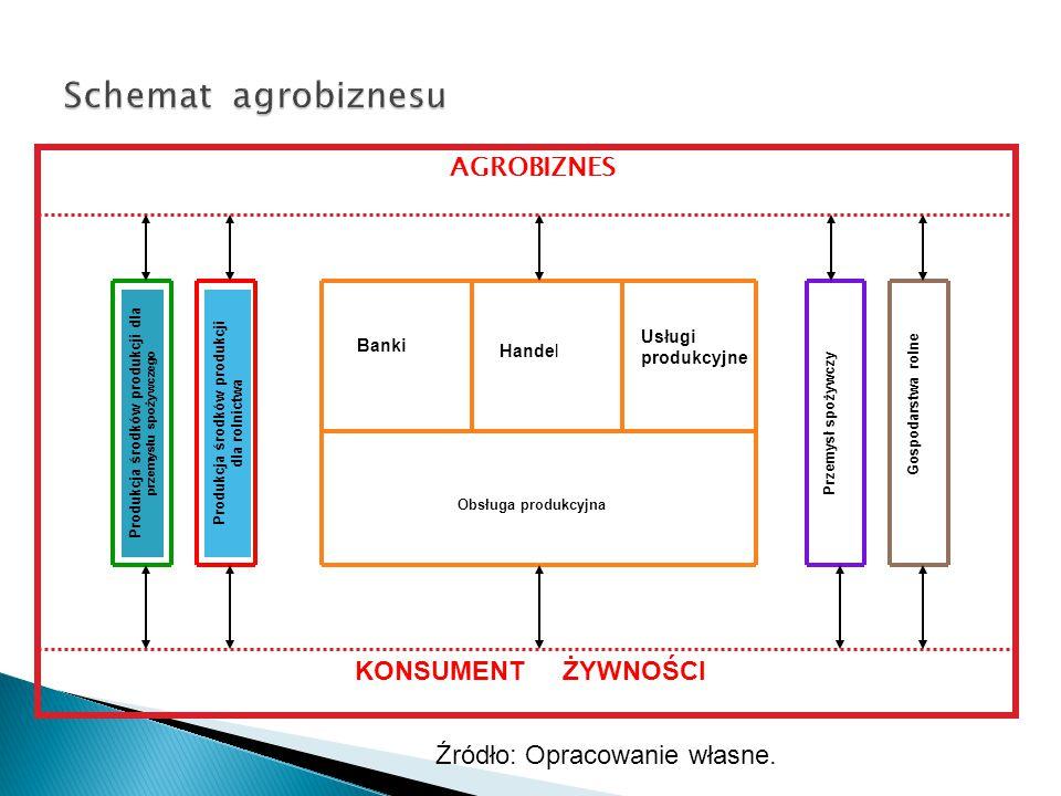 Obrót towarów i usług między ogniwami RolnictwoKonsumentHandel Przemysł spożywczy Środki produkcji I usługi Rys.