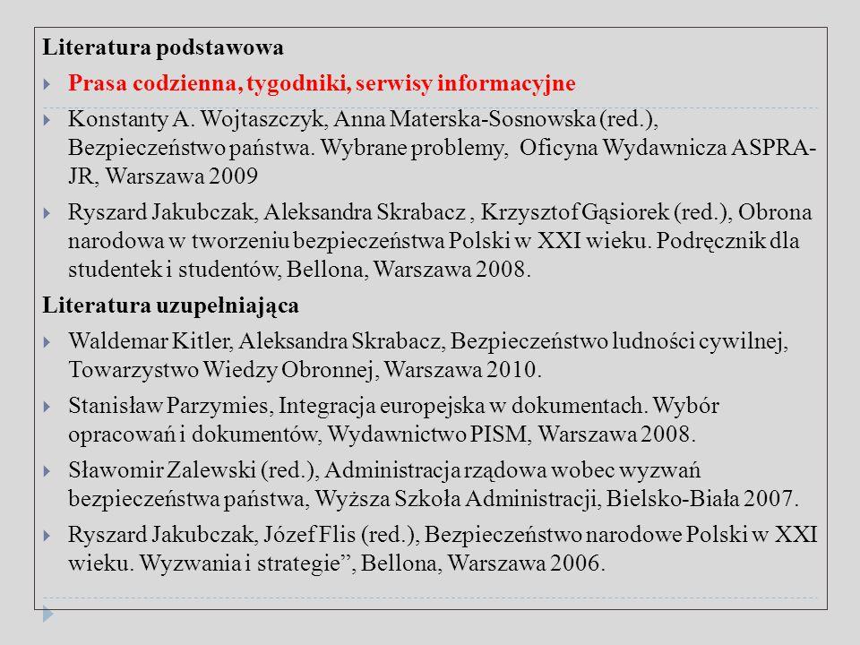 Polecane strony internetowe  http://konflikty.wp.pl/  http://www.psz.pl/  http://www.osw.waw.pl/  http://www.stosunkimiedzynarodowe.info