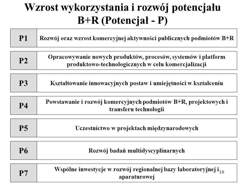 16 Wzrost wykorzystania i rozwój potencjału B+R (Potencjał - P) P1 Rozwój oraz wzrost komercyjnej aktywności publicznych podmiotów B+R P2 Opracowywanie nowych produktów, procesów, systemów i platform produktowo-technologicznych w celu komercjalizacji P6 Rozwój badań multidyscyplinarnych P4 Powstawanie i rozwój komercyjnych podmiotów B+R, projektowych i transferu technologii P5 Uczestnictwo w projektach międzynarodowych P3 Kształtowanie innowacyjnych postaw i umiejętności w kształceniu P7 Wspólne inwestycje w rozwój regionalnej bazy laboratoryjnej i aparaturowej