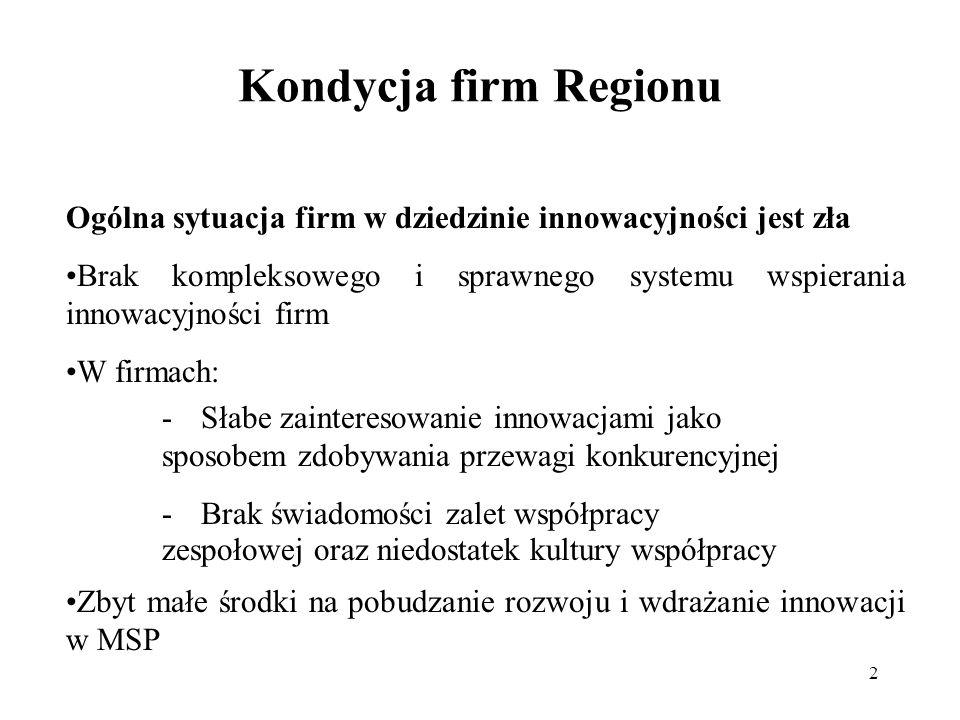2 Kondycja firm Regionu Ogólna sytuacja firm w dziedzinie innowacyjności jest zła Brak kompleksowego i sprawnego systemu wspierania innowacyjności firm W firmach: Zbyt małe środki na pobudzanie rozwoju i wdrażanie innowacji w MSP -Słabe zainteresowanie innowacjami jako sposobem zdobywania przewagi konkurencyjnej -Brak świadomości zalet współpracy zespołowej oraz niedostatek kultury współpracy
