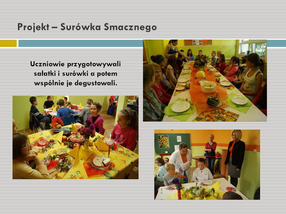 Projekt – Surówka Smacznego Uczniowie przygotowywali sałatki i surówki a potem wspólnie je degustowali.