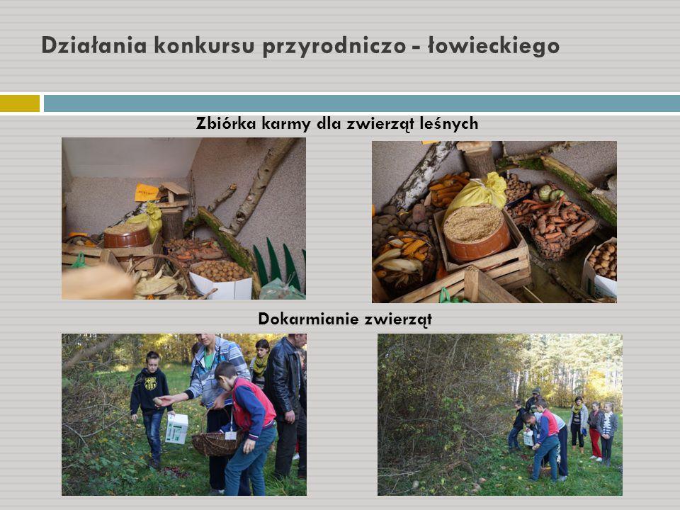 Działania konkursu przyrodniczo - łowieckiego Zbiórka karmy dla zwierząt leśnych Dokarmianie zwierząt