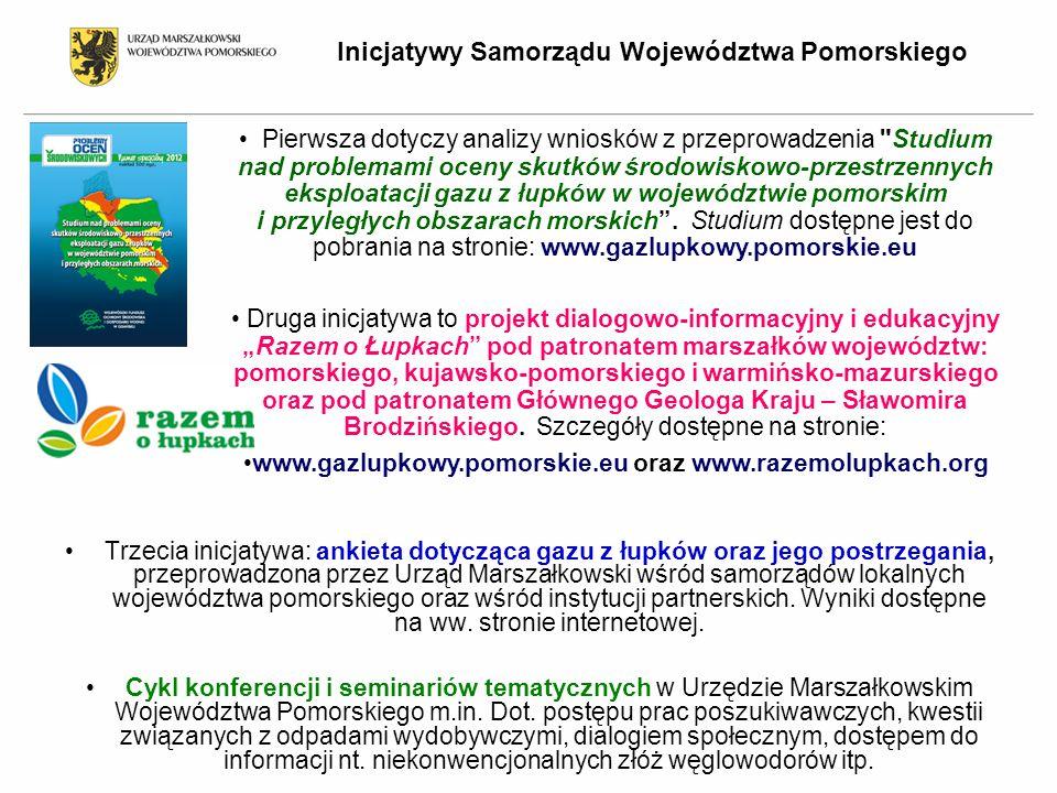 Inicjatywy Samorządu Województwa Pomorskiego Trzecia inicjatywa: ankieta dotycząca gazu z łupków oraz jego postrzegania, przeprowadzona przez Urząd Marszałkowski wśród samorządów lokalnych województwa pomorskiego oraz wśród instytucji partnerskich.
