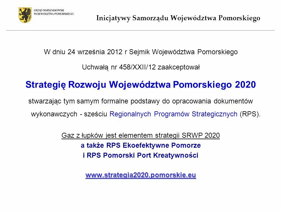 W dniu 24 września 2012 r Sejmik Województwa Pomorskiego Uchwałą nr 458/XXII/12 zaakceptował Strategię Rozwoju Województwa Pomorskiego 2020 stwarzając tym samym formalne podstawy do opracowania dokumentów wykonawczych - sześciu Regionalnych Programów Strategicznych (RPS).