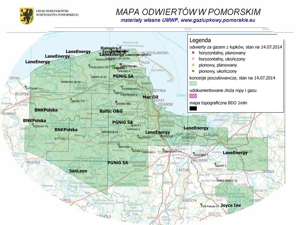 MAPA ODWIERTÓW W POMORSKIM materiały własne UMWP, www.gazlupkowy.pomorskie.eu