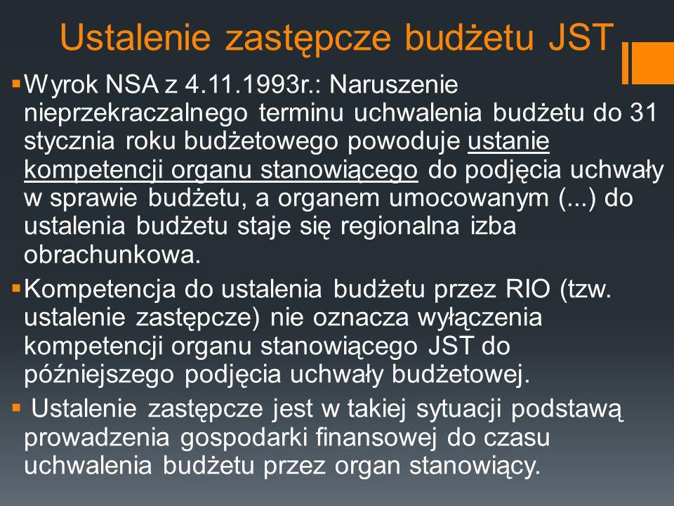 Ustalenie zastępcze budżetu JST  Wyrok NSA z 4.11.1993r.: Naruszenie nieprzekraczalnego terminu uchwalenia budżetu do 31 stycznia roku budżetowego po
