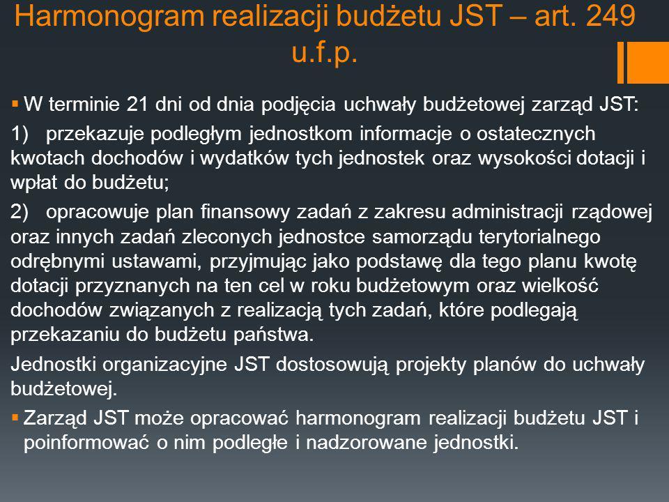 Harmonogram realizacji budżetu JST – art. 249 u.f.p.  W terminie 21 dni od dnia podjęcia uchwały budżetowej zarząd JST: 1) przekazuje podległym jedno