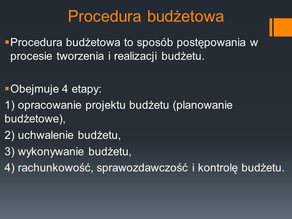 Procedura budżetowa  Procedura budżetowa to sposób postępowania w procesie tworzenia i realizacji budżetu.  Obejmuje 4 etapy: 1) opracowanie projekt