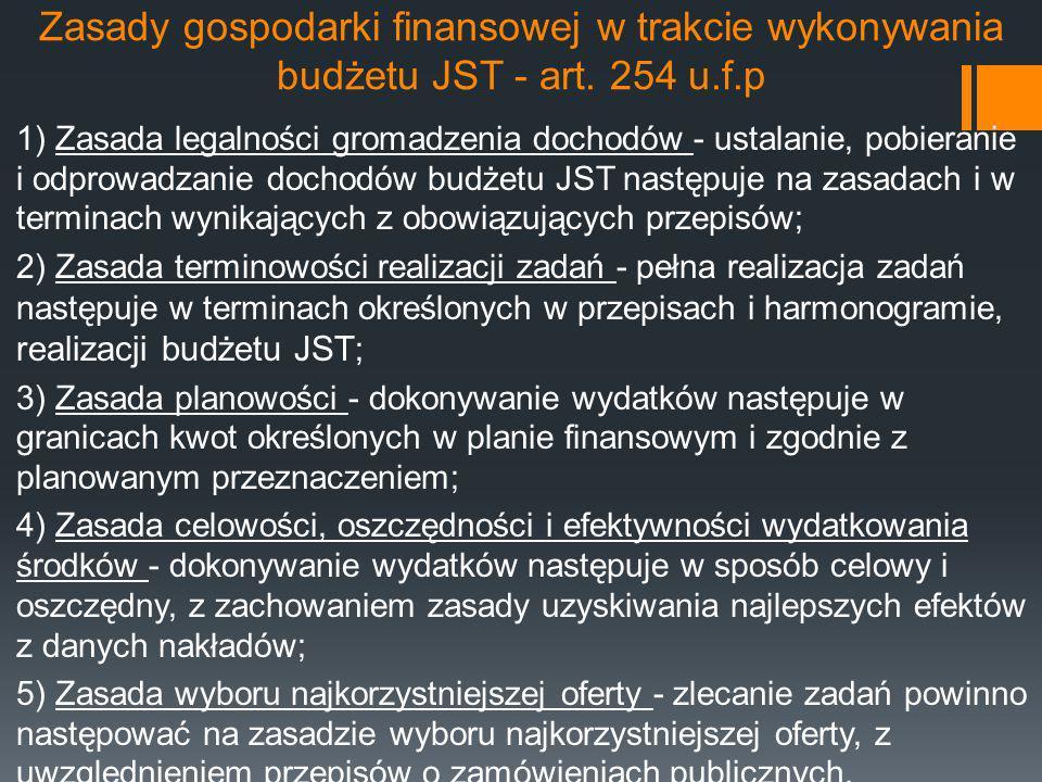 Zasady gospodarki finansowej w trakcie wykonywania budżetu JST - art. 254 u.f.p 1) Zasada legalności gromadzenia dochodów - ustalanie, pobieranie i od