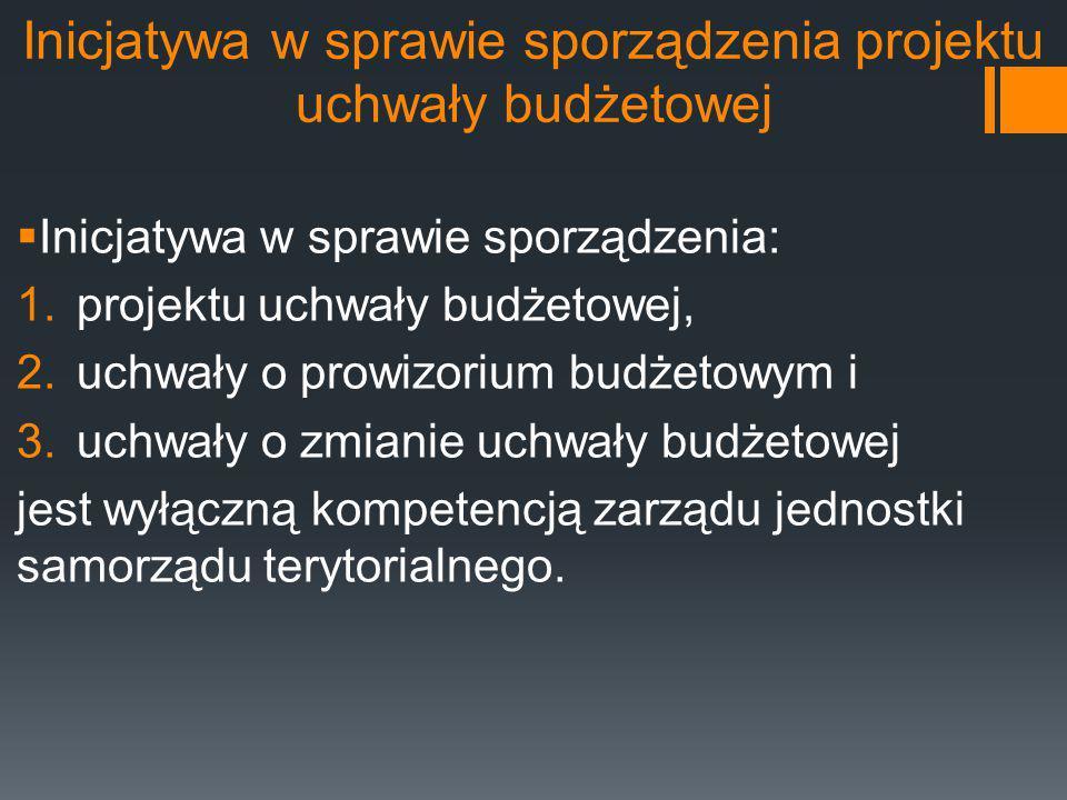 Inicjatywa w sprawie sporządzenia projektu uchwały budżetowej  Inicjatywa w sprawie sporządzenia: 1.projektu uchwały budżetowej, 2.uchwały o prowizor