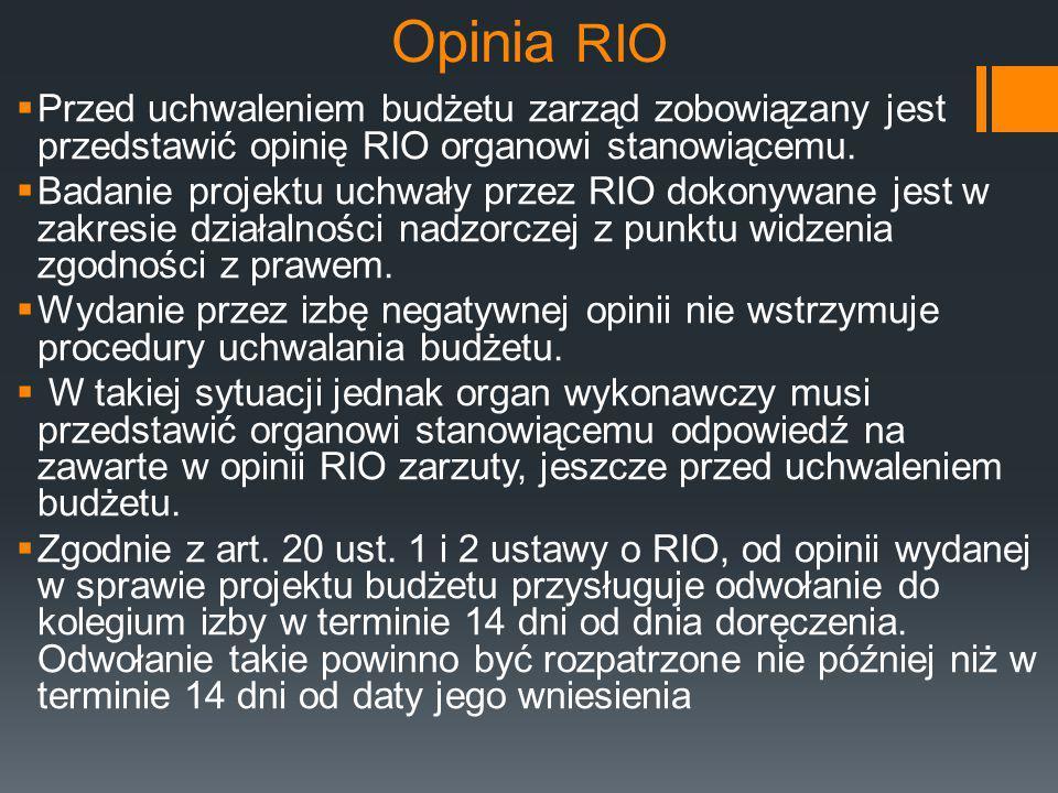 Opinia RIO  Przed uchwaleniem budżetu zarząd zobowiązany jest przedstawić opinię RIO organowi stanowiącemu.  Badanie projektu uchwały przez RIO doko