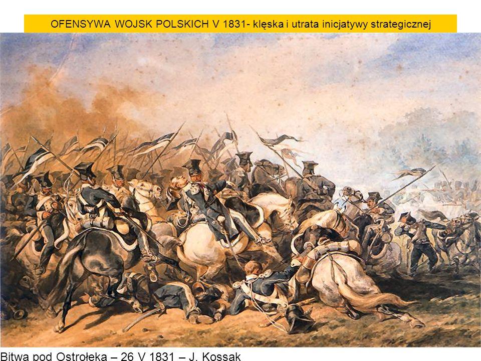 OFENSYWA WOJSK POLSKICH V 1831- klęska i utrata inicjatywy strategicznej Bitwa pod Ostrołęką – 26 V 1831 – J. Kossak