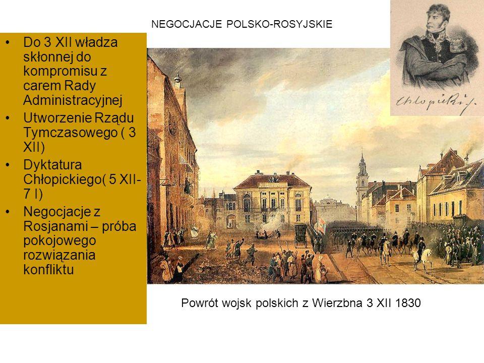 NEGOCJACJE POLSKO-ROSYJSKIE Do 3 XII władza skłonnej do kompromisu z carem Rady Administracyjnej Utworzenie Rządu Tymczasowego ( 3 XII) Dyktatura Chło