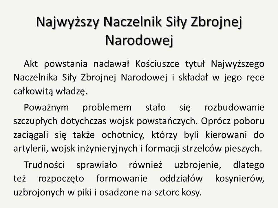 Najwyższy Naczelnik Siły Zbrojnej Narodowej Akt powstania nadawał Kościuszce tytuł Najwyższego Naczelnika Siły Zbrojnej Narodowej i składał w jego ręc