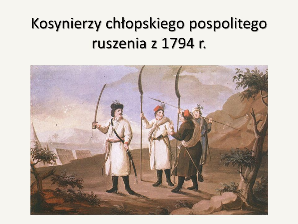 Siły powstańcze W momencie rozpoczęcia wojny o niepodległość Kościuszko rozporządzał jednym batalionem regimentu II (Wodzickiego) i jednym III (Czapskiego), w łącznej sile 800 ludzi i brygadą Manżeta (10 szwadronów), bataliony III i IV regimentu oraz brygada Madalińskiego licząca 1000 koni.