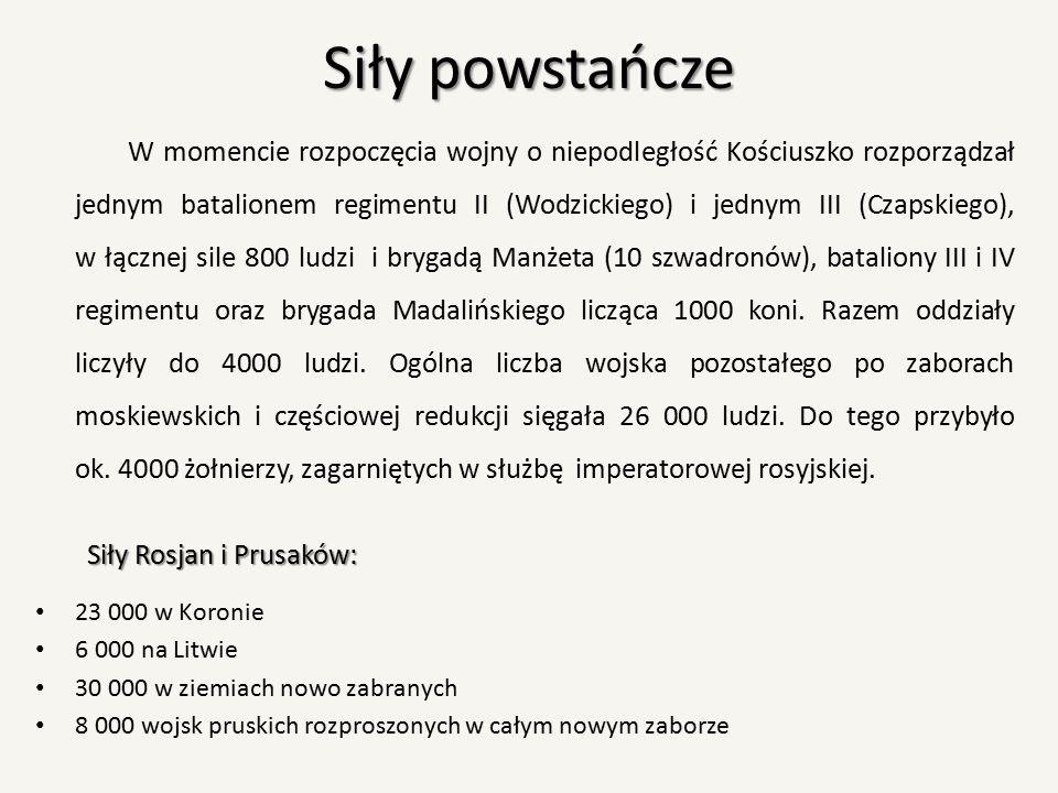 Siły powstańcze W momencie rozpoczęcia wojny o niepodległość Kościuszko rozporządzał jednym batalionem regimentu II (Wodzickiego) i jednym III (Czapsk