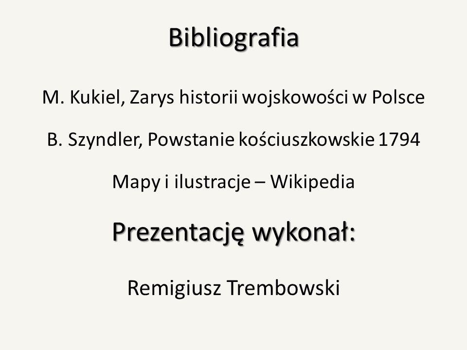 Bibliografia M. Kukiel, Zarys historii wojskowości w Polsce B. Szyndler, Powstanie kościuszkowskie 1794 Mapy i ilustracje – Wikipedia Prezentację wyko