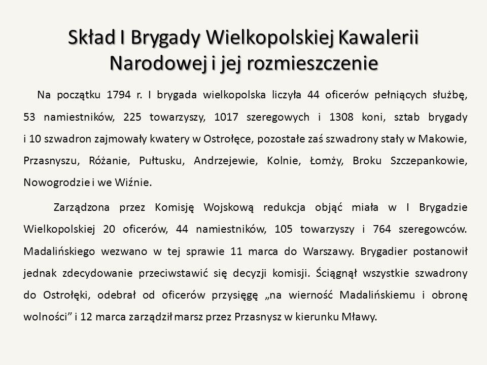 Skład I Brygady Wielkopolskiej Kawalerii Narodowej i jej rozmieszczenie Na początku 1794 r. I brygada wielkopolska liczyła 44 oficerów pełniących służ
