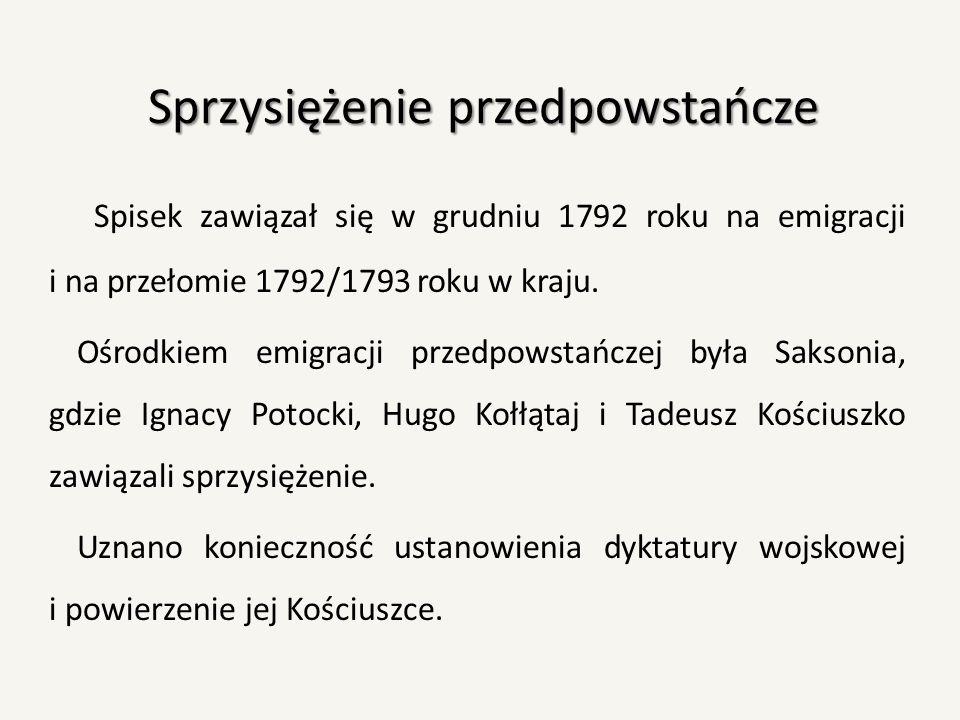 Sprzysiężenie przedpowstańcze Spisek zawiązał się w grudniu 1792 roku na emigracji i na przełomie 1792/1793 roku w kraju. Ośrodkiem emigracji przedpow