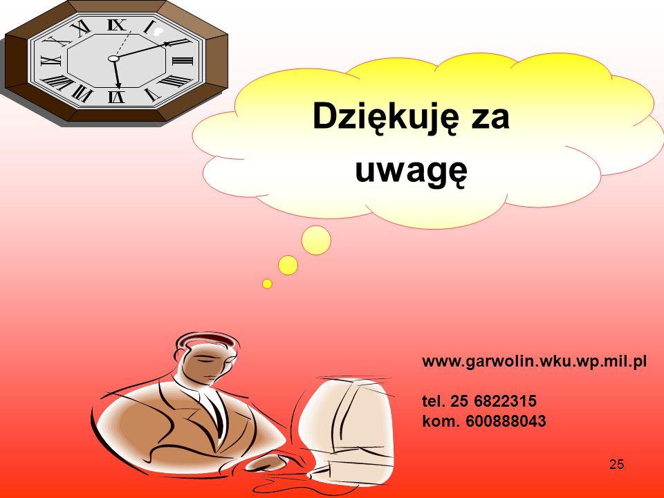 25 Dziękuję za uwagę www.garwolin.wku.wp.mil.pl tel. 25 6822315 kom. 600888043