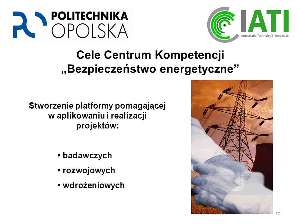 """10 Stworzenie platformy pomagającej w aplikowaniu i realizacji projektów: badawczych rozwojowych wdrożeniowych Cele Centrum Kompetencji """"Bezpieczeństwo energetyczne"""
