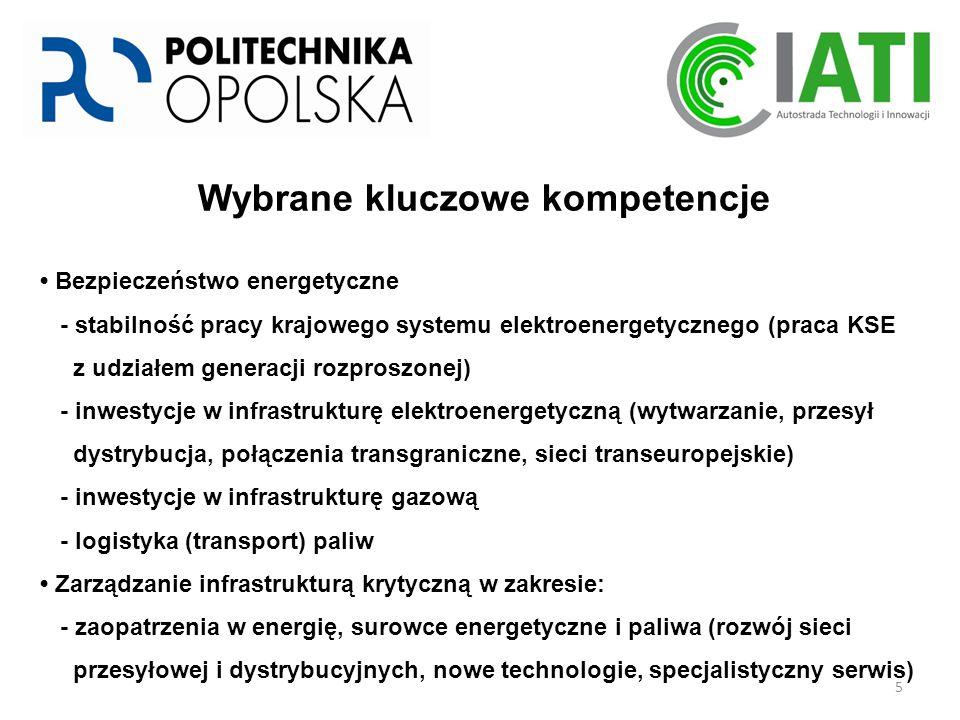 5 Wybrane kluczowe kompetencje Bezpieczeństwo energetyczne - stabilność pracy krajowego systemu elektroenergetycznego (praca KSE z udziałem generacji rozproszonej) - inwestycje w infrastrukturę elektroenergetyczną (wytwarzanie, przesył dystrybucja, połączenia transgraniczne, sieci transeuropejskie) - inwestycje w infrastrukturę gazową - logistyka (transport) paliw Zarządzanie infrastrukturą krytyczną w zakresie: - zaopatrzenia w energię, surowce energetyczne i paliwa (rozwój sieci przesyłowej i dystrybucyjnych, nowe technologie, specjalistyczny serwis)