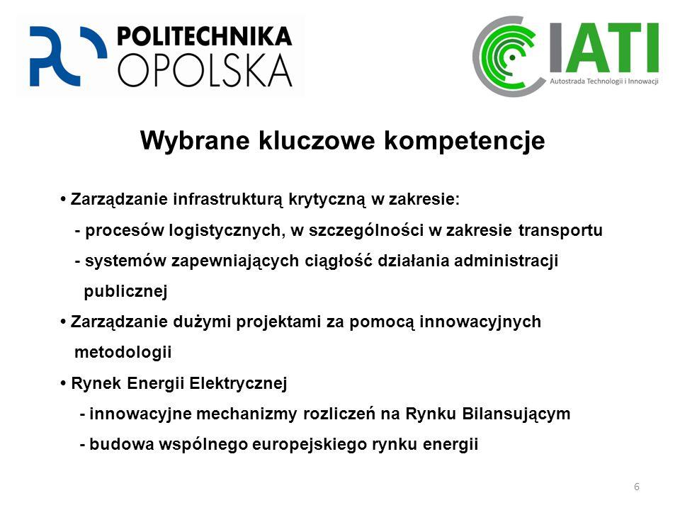 6 Wybrane kluczowe kompetencje Zarządzanie infrastrukturą krytyczną w zakresie: - procesów logistycznych, w szczególności w zakresie transportu - systemów zapewniających ciągłość działania administracji publicznej Zarządzanie dużymi projektami za pomocą innowacyjnych metodologii Rynek Energii Elektrycznej - innowacyjne mechanizmy rozliczeń na Rynku Bilansującym - budowa wspólnego europejskiego rynku energii