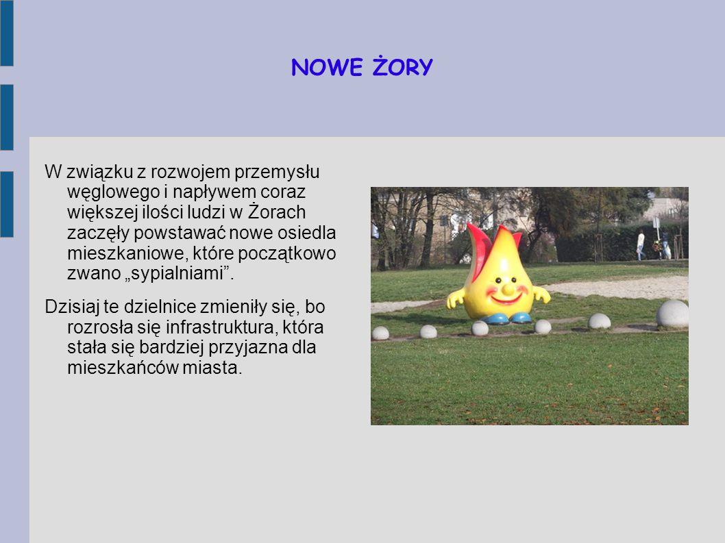"""NOWE ŻORY W związku z rozwojem przemysłu węglowego i napływem coraz większej ilości ludzi w Żorach zaczęły powstawać nowe osiedla mieszkaniowe, które początkowo zwano """"sypialniami ."""