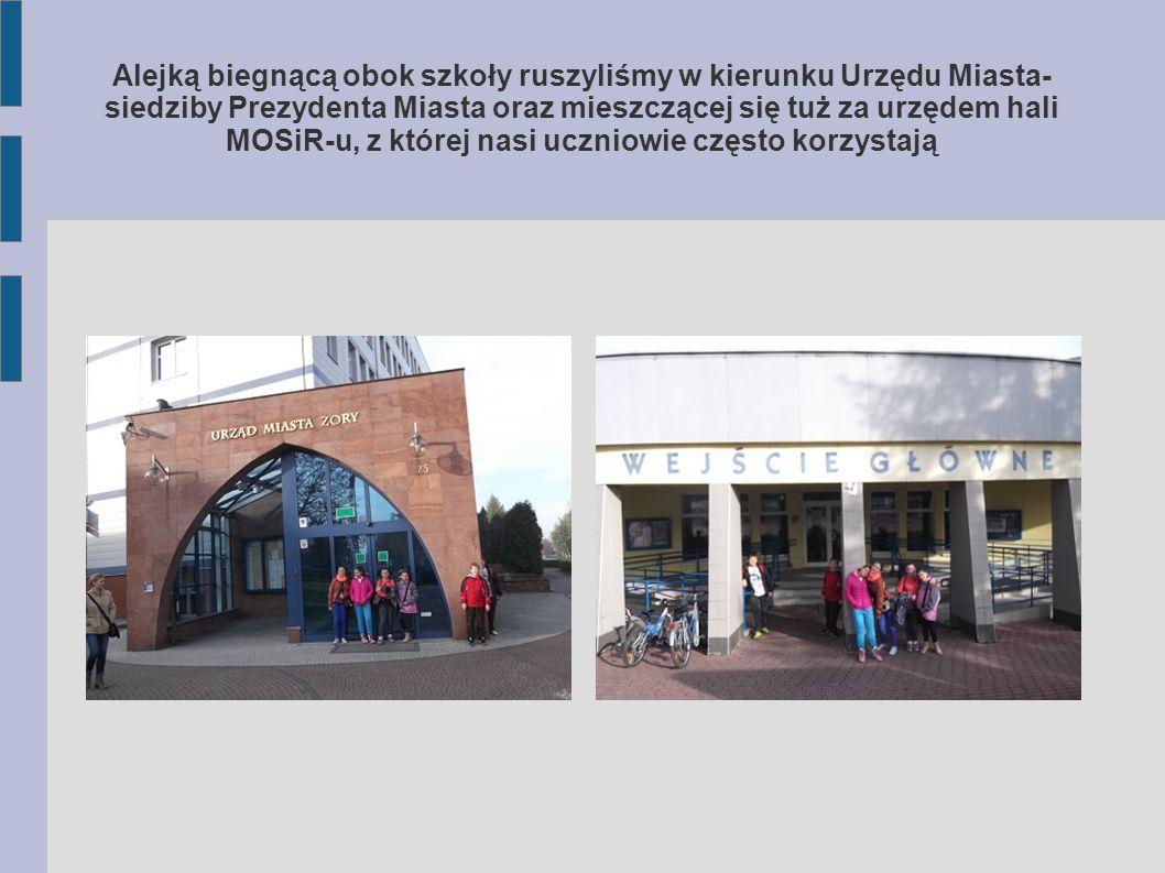 Alejką biegnącą obok szkoły ruszyliśmy w kierunku Urzędu Miasta- siedziby Prezydenta Miasta oraz mieszczącej się tuż za urzędem hali MOSiR-u, z której nasi uczniowie często korzystają