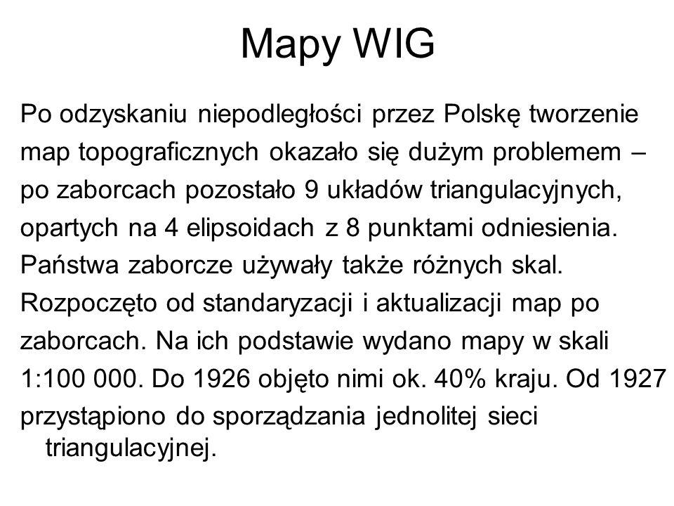 Mapy WIG Po odzyskaniu niepodległości przez Polskę tworzenie map topograficznych okazało się dużym problemem – po zaborcach pozostało 9 układów triang