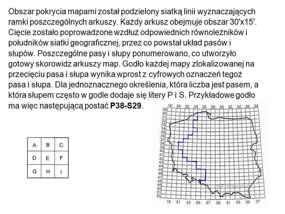 Obszar pokrycia mapami został podzielony siatką linii wyznaczających ramki poszczególnych arkuszy. Każdy arkusz obejmuje obszar 30'x15'. Cięcie został